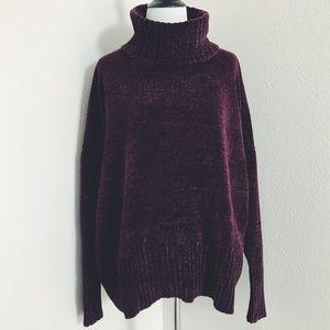 Sweaters - Softest Chenille Turtleneck Sweater in Plum